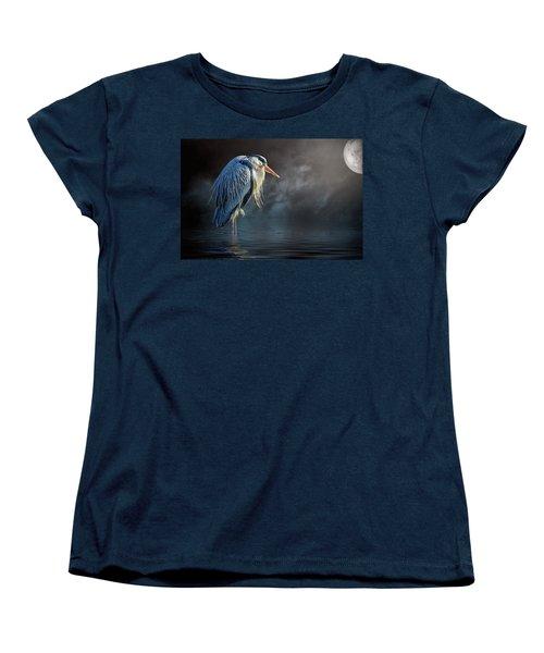 Blue Heron Moon Women's T-Shirt (Standard Cut) by Brian Tarr