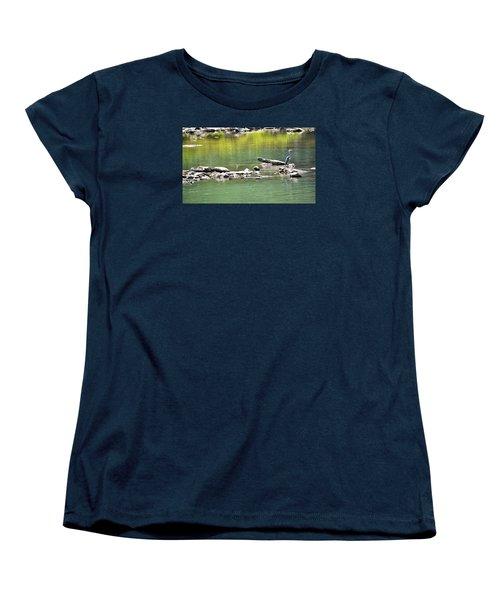 Blue Heron On The Chattahoochie Women's T-Shirt (Standard Cut) by James Potts