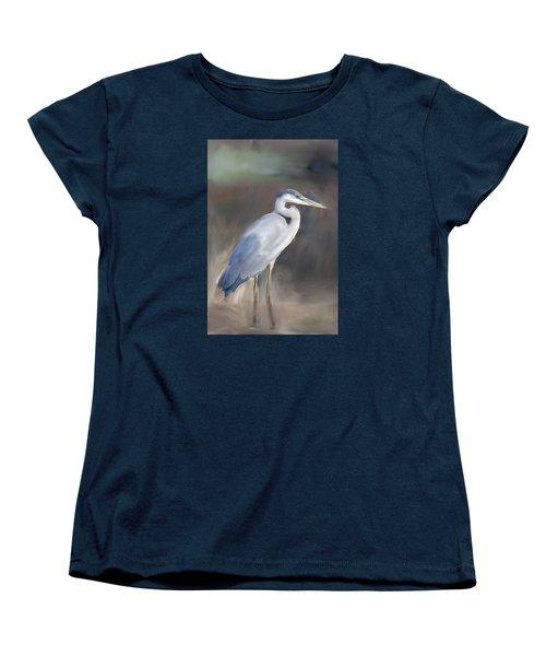 Blue Heron Painting  Women's T-Shirt (Standard Cut) by Don  Wright