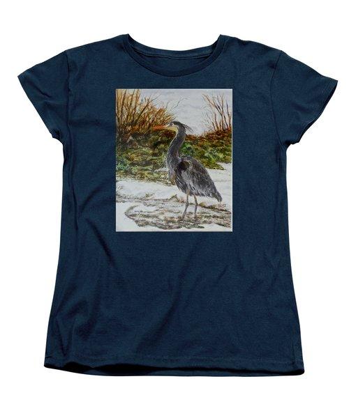 Blue Heron Women's T-Shirt (Standard Cut) by Sher Nasser