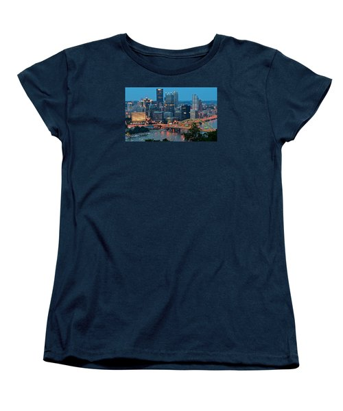 Blue Hour In Pittsburgh Women's T-Shirt (Standard Cut) by Frozen in Time Fine Art Photography