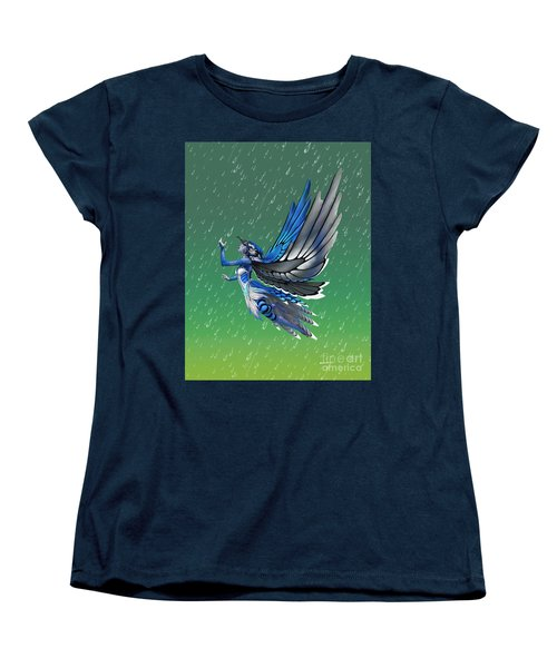 Women's T-Shirt (Standard Cut) featuring the digital art Blue Jay Fairy by Stanley Morrison