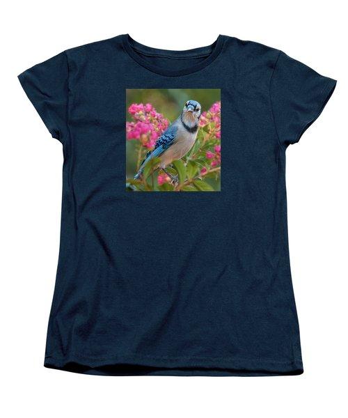 Blue Jay In Crepe Myrtle Women's T-Shirt (Standard Cut) by Jim Moore