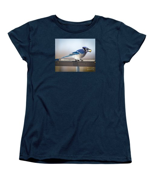 Blue Jay With A Mouth Full Women's T-Shirt (Standard Cut) by Ricky L Jones