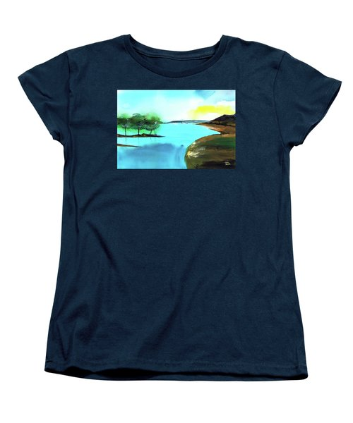 Women's T-Shirt (Standard Cut) featuring the painting Blue Lake by Anil Nene