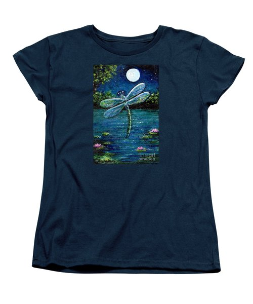 Women's T-Shirt (Standard Cut) featuring the painting Blue Moon Dragonfly by Sandra Estes