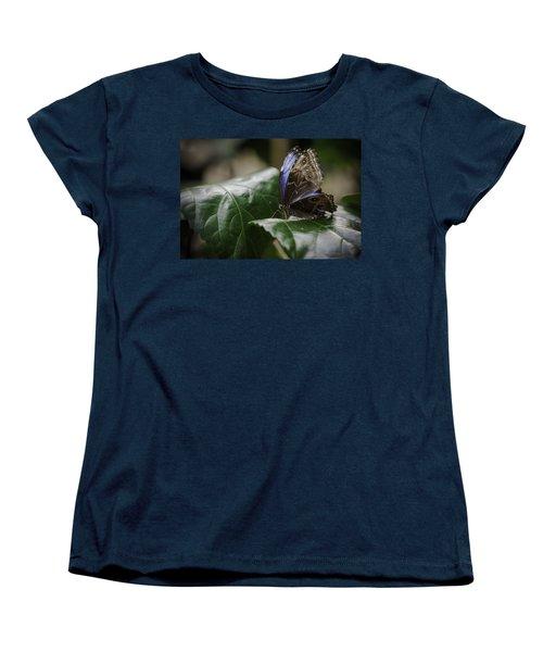 Blue Morpho On A Leaf Women's T-Shirt (Standard Cut) by Jason Moynihan