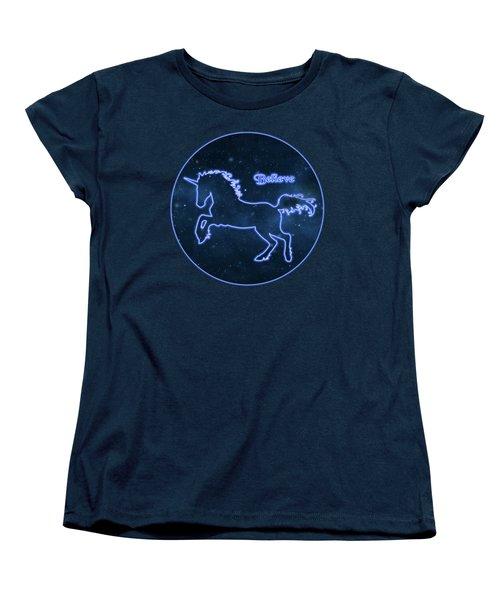Blue Neon Light Unicorn Text Believe Women's T-Shirt (Standard Cut) by Elaine Plesser