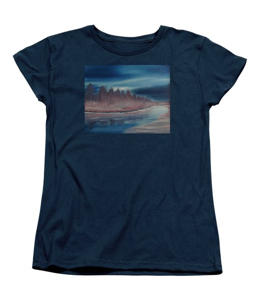 Women's T-Shirt (Standard Cut) featuring the painting Blue Nightfall Evening by Rod Jellison