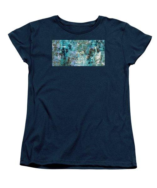 Women's T-Shirt (Standard Cut) featuring the painting Blue Ocean - Abstract Art by Carmen Guedez