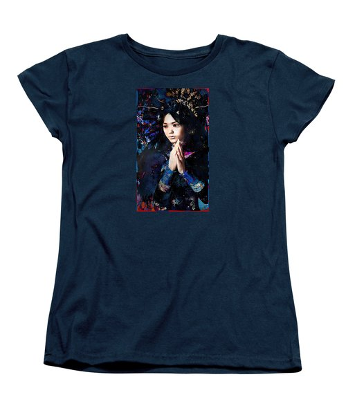Women's T-Shirt (Standard Cut) featuring the painting Blue Our Lady Of China by Suzanne Silvir