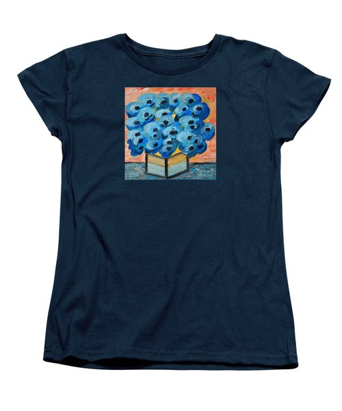 Blue Poppies In Square Vase  Women's T-Shirt (Standard Cut) by Ramona Matei