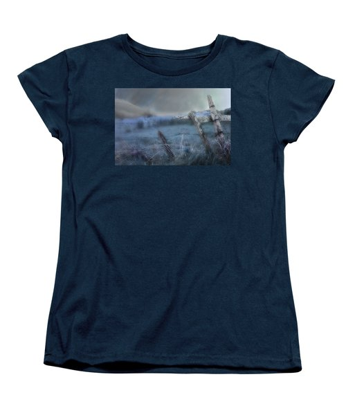 Women's T-Shirt (Standard Cut) featuring the painting Blue Ridge Morning by Gray  Artus