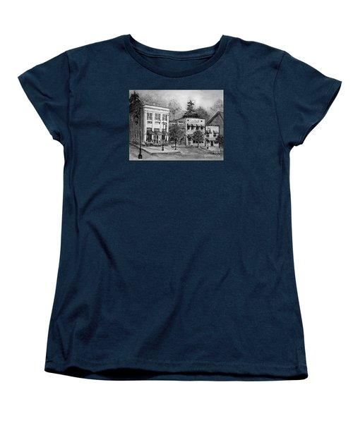 Women's T-Shirt (Standard Cut) featuring the painting Blue Ridge Town In Bw by Gretchen Allen