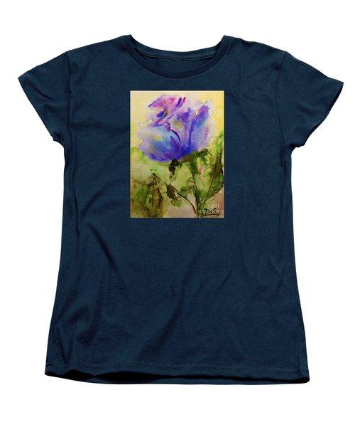 Blue Rose Watercolor Women's T-Shirt (Standard Cut) by AmaS Art