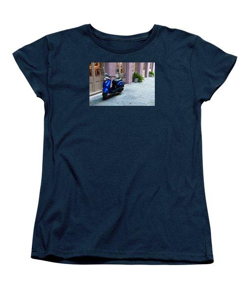 Women's T-Shirt (Standard Cut) featuring the photograph Blue Scooter by Monte Stevens
