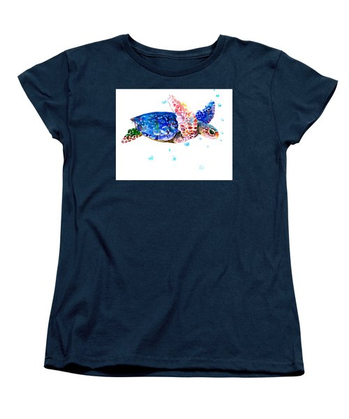 Blue Sea Turtle Women's T-Shirt (Standard Cut) by Suren Nersisyan