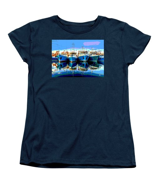 Blue Shrimp Boats Women's T-Shirt (Standard Cut) by Charles Shoup