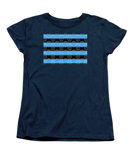 Blue Skull Stripes Women's T-Shirt (Standard Cut) by Roseanne Jones