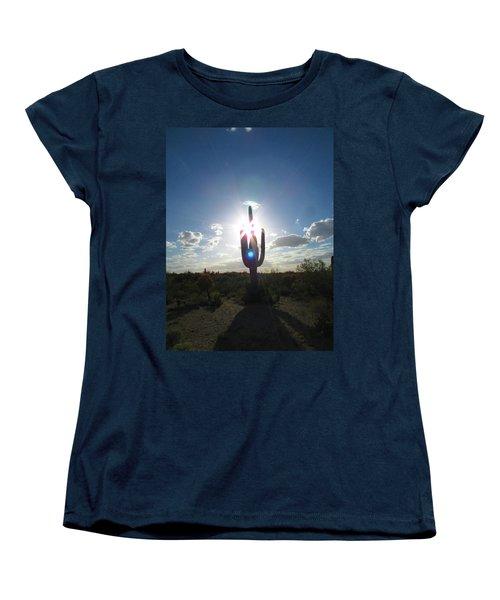 Blue Star Saguaro Women's T-Shirt (Standard Cut) by Brenda Pressnall