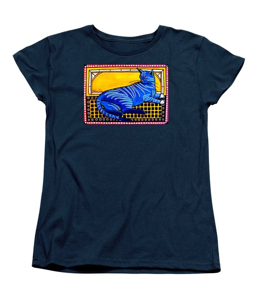 Women's T-Shirt (Standard Cut) featuring the painting Blue Tabby - Cat Art By Dora Hathazi Mendes by Dora Hathazi Mendes
