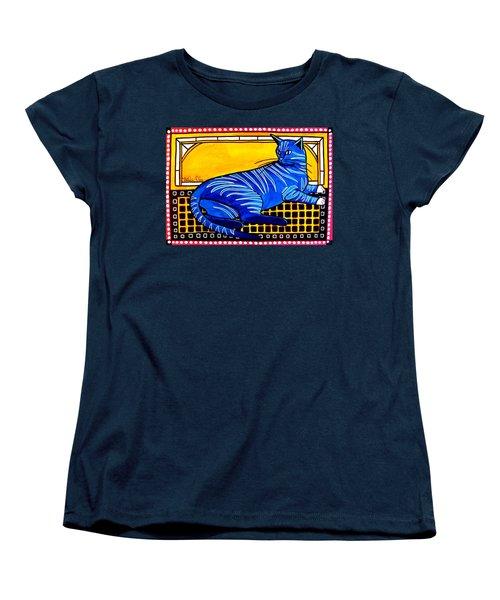 Blue Tabby - Cat Art By Dora Hathazi Mendes Women's T-Shirt (Standard Cut)