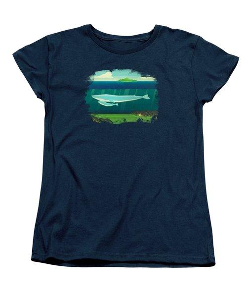 Blue Whale Women's T-Shirt (Standard Cut) by David Ardil