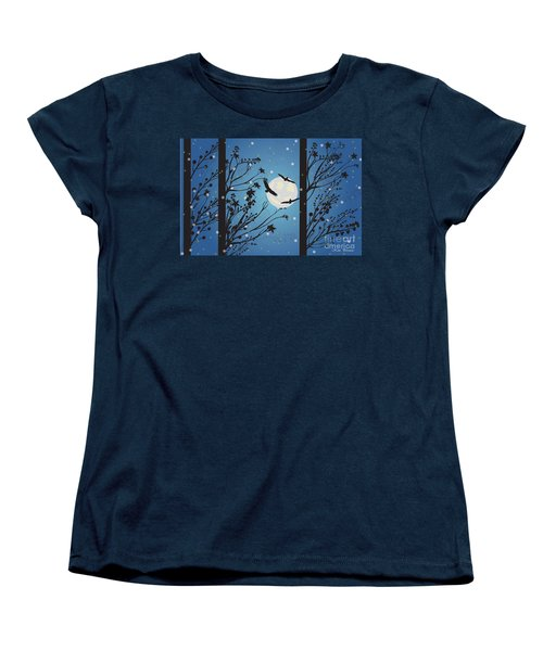 Blue Winter Moon Women's T-Shirt (Standard Cut) by Kim Prowse