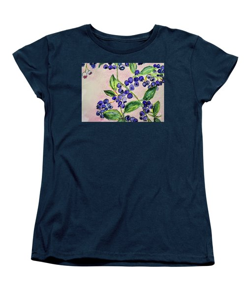 Women's T-Shirt (Standard Cut) featuring the painting Blueberries by Kim Nelson