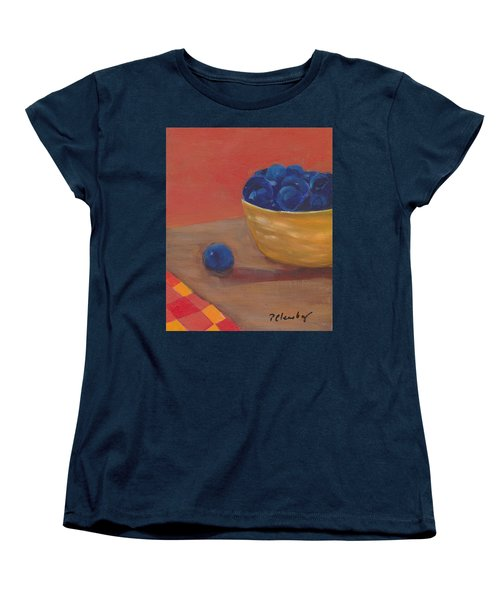 Blueberries Yellow Bowl Women's T-Shirt (Standard Cut) by Patricia Cleasby