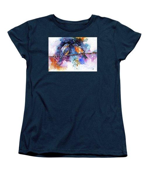 Women's T-Shirt (Standard Cut) featuring the painting Bluebirds by Zaira Dzhaubaeva