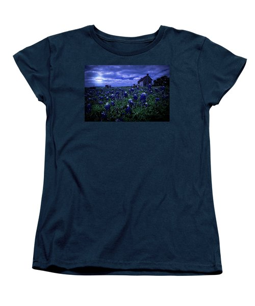 Women's T-Shirt (Standard Cut) featuring the photograph Bluebonnets In The Blue Hour by Linda Unger