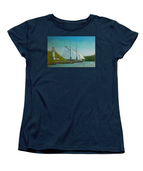 Bluenose Passing Georges Island Women's T-Shirt (Standard Cut) by Rae  Smith