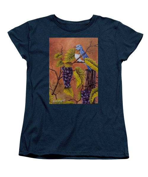 Women's T-Shirt (Standard Cut) featuring the painting Bluey And The Grape Vine by Dan Wagner