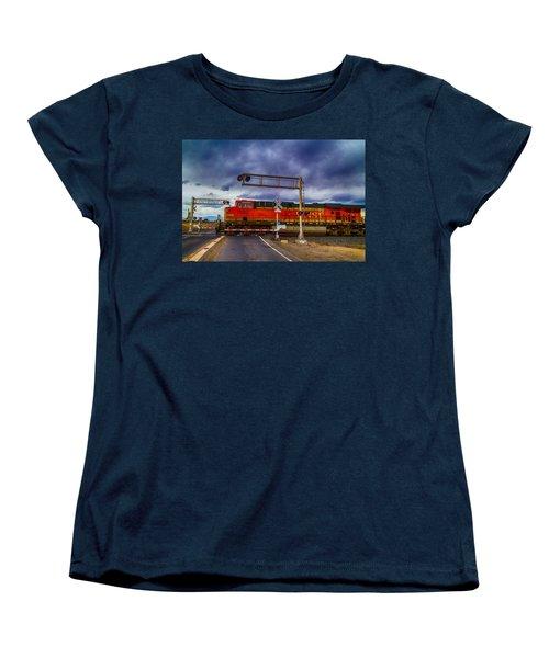 Women's T-Shirt (Standard Cut) featuring the digital art Bnsf 7682 Crossing by Bartz Johnson