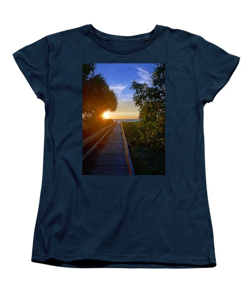 Women's T-Shirt (Standard Cut) featuring the photograph Sunset At The End Of The Boardwalk by Robb Stan