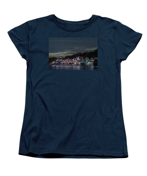 Boathouse Row Philly Pa Night Women's T-Shirt (Standard Cut) by Terry DeLuco