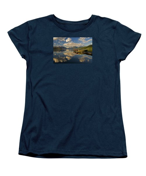 Women's T-Shirt (Standard Cut) featuring the photograph Boats At Lake Mcdonald by Gary Lengyel
