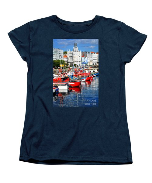 Boats In The Harbor - La Coruna Women's T-Shirt (Standard Cut) by Mary Machare
