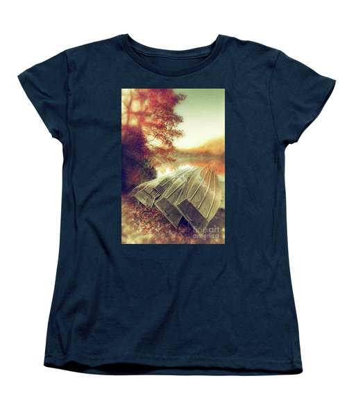Women's T-Shirt (Standard Cut) featuring the painting Boats On Price Lake During Autumn Sunrise Ap by Dan Carmichael
