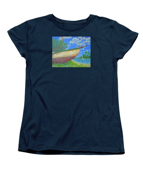 Women's T-Shirt (Standard Cut) featuring the painting Boatyard On Shem Creek by Dwain Ray
