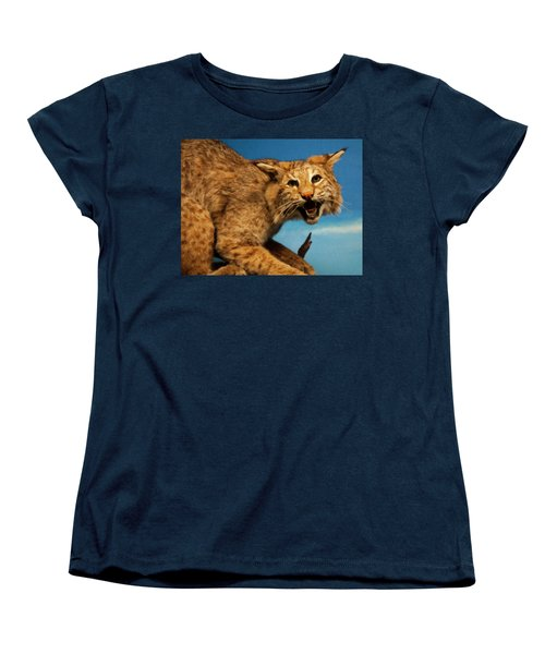 Women's T-Shirt (Standard Cut) featuring the digital art Bobcat On A Branch by Chris Flees