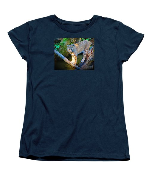 Bobcat Scanning The Water Women's T-Shirt (Standard Cut) by Ansel Price