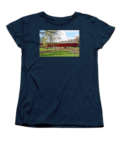 Bogert Covered Bridge Women's T-Shirt (Standard Cut) by DJ Florek