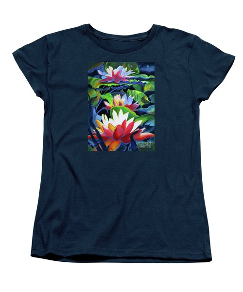 Women's T-Shirt (Standard Cut) featuring the painting Bold Lilypads by Kathy Braud
