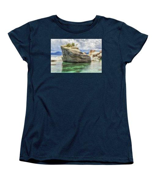 Bonsai Rock And Rain Shower Women's T-Shirt (Standard Cut) by Marc Crumpler