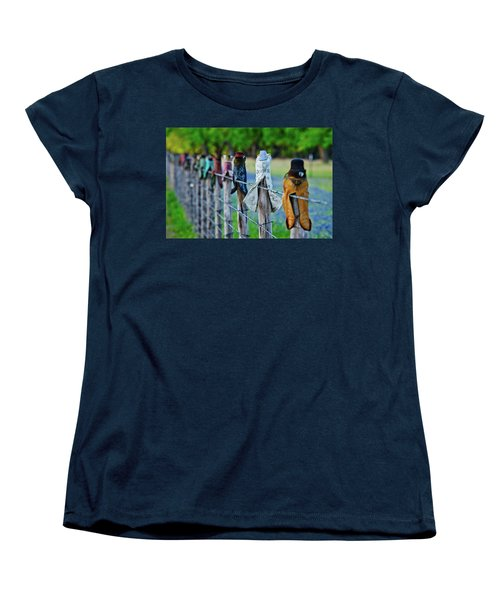 Women's T-Shirt (Standard Cut) featuring the photograph Boots On The Fence by Linda Unger