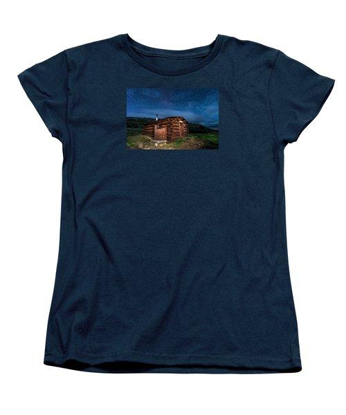 Boreas Pass Cabin Moonlit Night Women's T-Shirt (Standard Cut) by Michael J Bauer