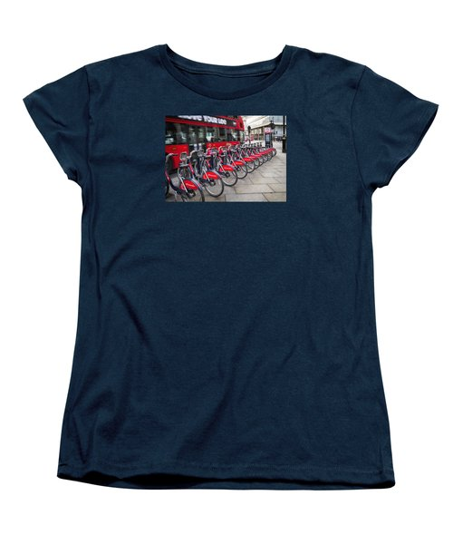 Women's T-Shirt (Standard Cut) featuring the photograph Boris Bikes And Buses by Shirley Mitchell