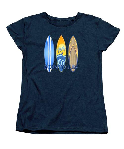 Born To Surf And Tiki Masks Women's T-Shirt (Standard Cut) by Chris MacDonald